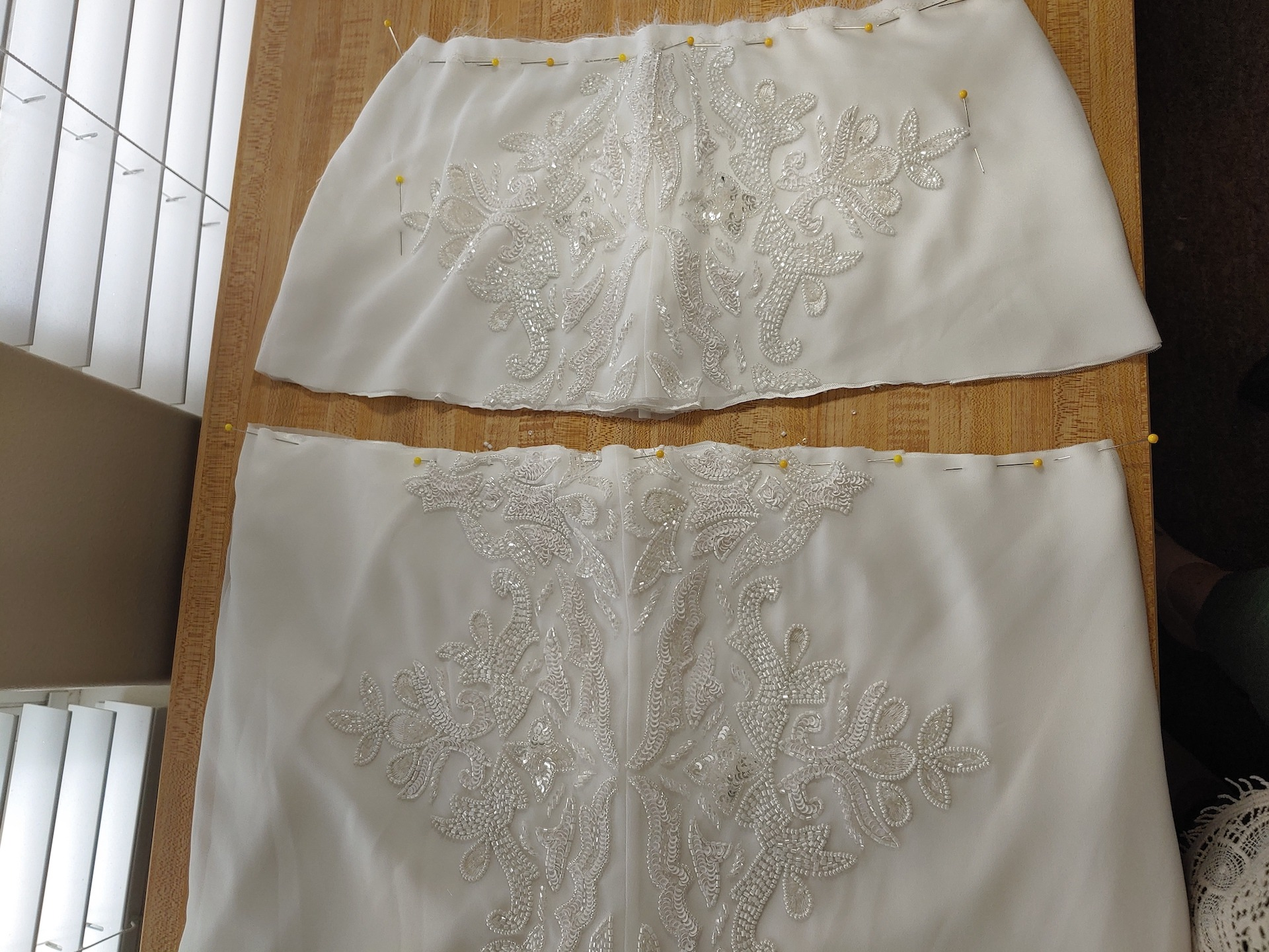 hemming the wedding dress from the waist